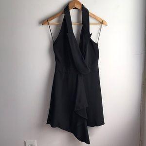 Alexander Wang little black low back halter dress
